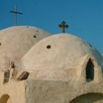 Desert Coptic cloister on sands of Wadi Natroun.