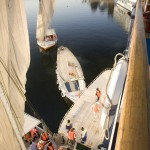 Cruise passengers return from Felluca sailing