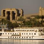 Luxury Nile cruiser docked at Kom Ombu Temple