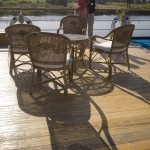 Shadows of deck chairs on luxury Nile cruiser