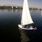 Tall masted Nile felucca under sail