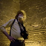 Nile cruise passenger in Horus Temple on Nile