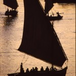 Felucca sails at sunset
