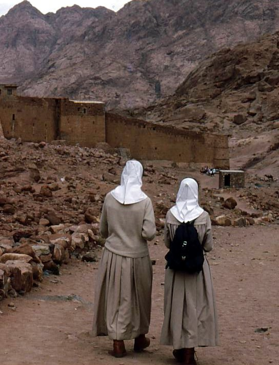 Pilgrim nuns on Mt. Sinai trail