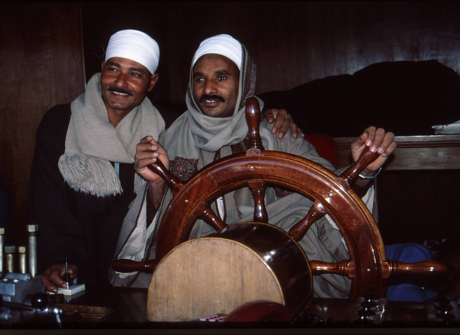 Nile River pilots in traditional Egyptian attire