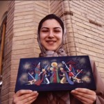 Crafts abound in in Isfahan. An Armenian girl shows off her Nativity scene