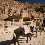 Donkeys and riders with Royal Tombs distant