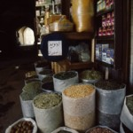 Spice and herb stalls present their offerings straight from the barrel