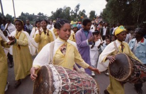 Drummers in the Timkat procession.