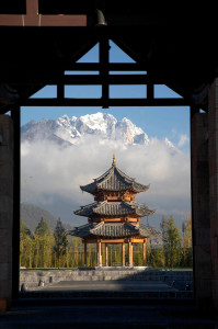 Naxi-style pagoda below Jade Dragon Mountain