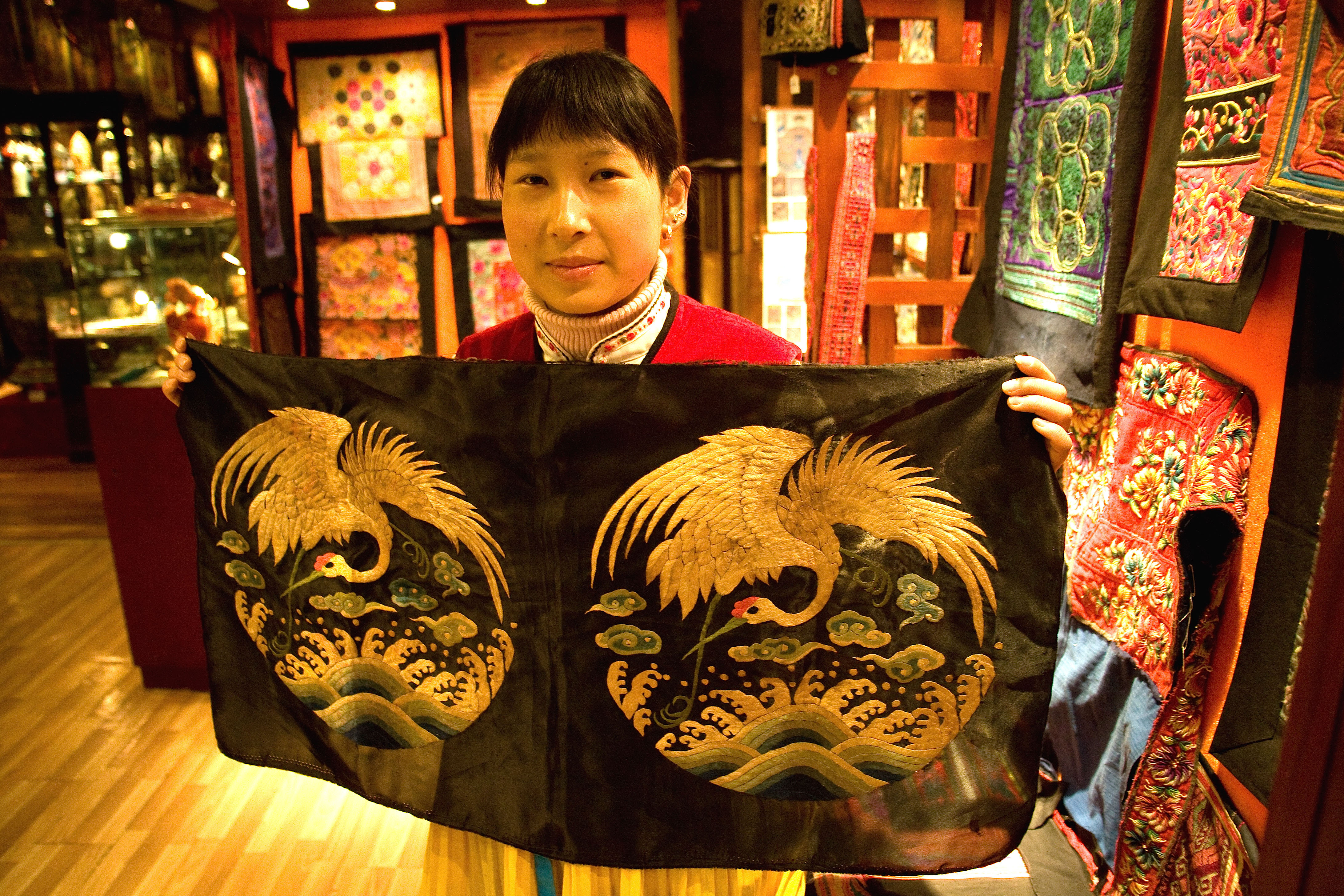 Naxi-style embroidery at Lijiang museum